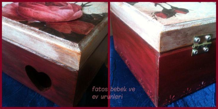 Güllü Ahşap Kutu Detayları/ Rose Wood Box Details