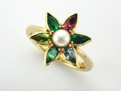 'FINYA' --  Pretty Posy of Gemstones in this  Floral Ring to Celebrate Family Birthdays  - Garnet, Peridot, Pearl, Aquamarine and Emerald!     Custom made in 9ct Yellow Gold.     What Birthstones are You?