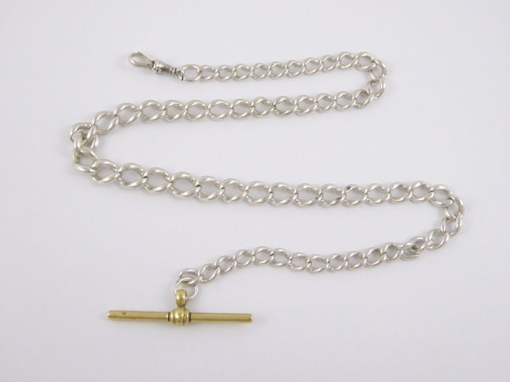 Antique Hallmarked Sterling Silver Pocket Watch Chain with Brass T Bar - The Collectors Bag
