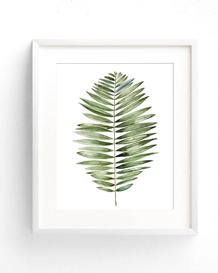 Tropical leaf art print of fern in watercolor, green plant art printable beach house decor. Botanical art leaf print for tropical decoration by OnceuponpaperCo on Etsy