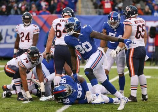 Giants vs. Bears - Giants DE John Pierre-Paul (JPP) filled up the box score with five tackles (one for loss), 2.5 sacks, three quarterback hits, a forced fumble and a pass defensed. (11/20/16)