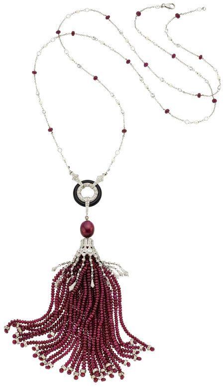 Estate Jewelry:Necklaces, Diamond, Multi-Stone, Cultured Pearl, White Gold Necklace. ... Image #1