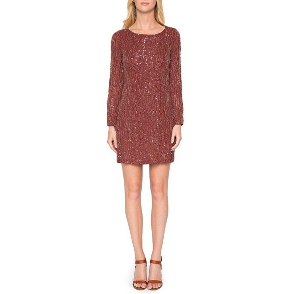 Women's Willow & Clay Beaded Sheath Dress ($159) ❤ liked on Polyvore featuring dresses, rust, long sleeve sequin dress, sheath dress, sequin dresses, sheath cocktail dress and open back cocktail dress