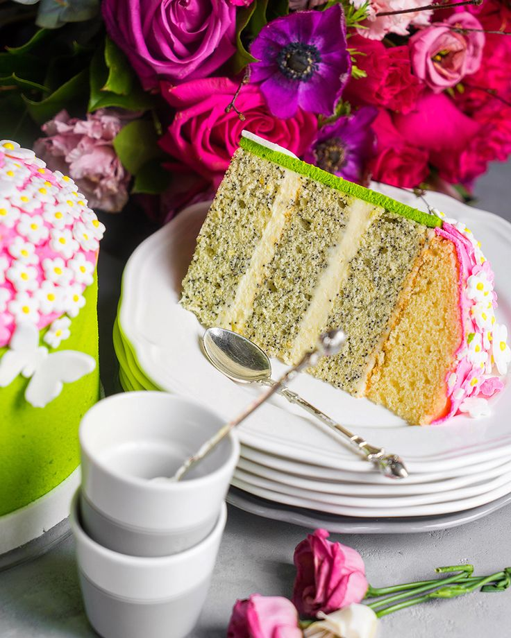 Бисквитный торт с маком и лимоном «Флора»  Мастика  Маковый бисквит  Японский заварной бисквит  Сборка Основы  Хозяйке на заметку  Недавние обзоры