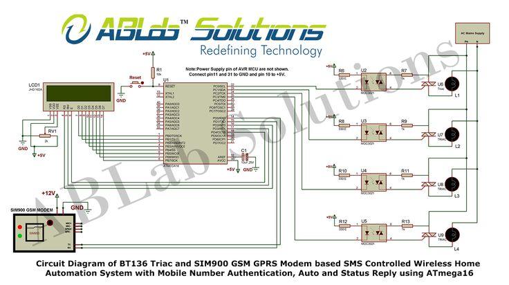 Circuit Diagram of BT136 Triac and SIM900 GSM GPRS Modem ...