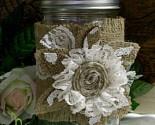 Burlap & lace flower candle wrap