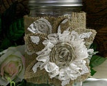 Burlap & lace flower candle wrap