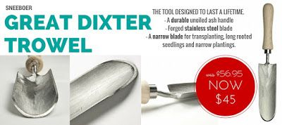 WEEKLY SPECIAL: Sneeboer 'Great Dixter' Trowel NOW $45 (was $56.95) - This multipurpose tool is made from high quality forged stainless steel with an ash handle and designed to last a lifetime. #greatdixtertrowel #gardentools #Sneeboer