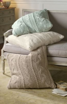 Cable Knit Euro Sham from Soft Surroundings This a MUST for next winter, with my red flannel sheets!