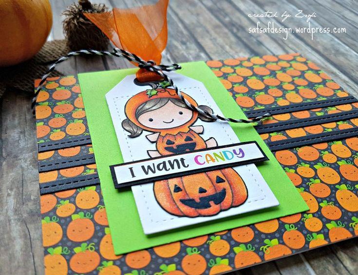 Cute Halloween card by Zsofi using Love Cynthia digi stamps | safsafdesign | Halloween series 2017