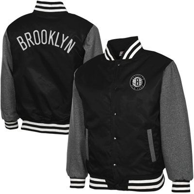 Brooklyn Nets Youth Hardwood Classics Hook Full Button Satin Jacket - Black /Charcoal
