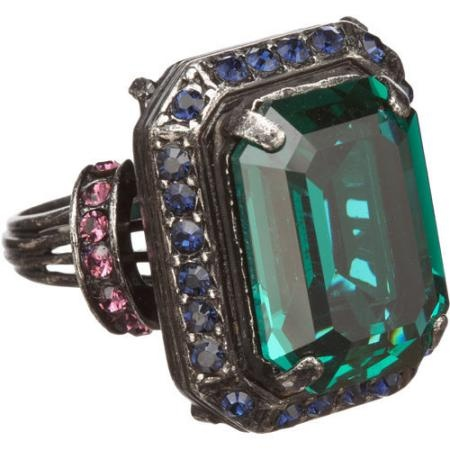 Lanvin Tutti Frutti Emerald-Cut Crystal Cocktail Ring - Green
