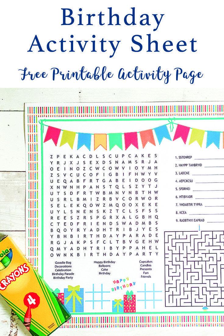 Free Printable Birthday Activity Sheet Everyday Party Magazine Birthday Activities Birthday Activities Kids Free Birthday Printables [ 1102 x 735 Pixel ]