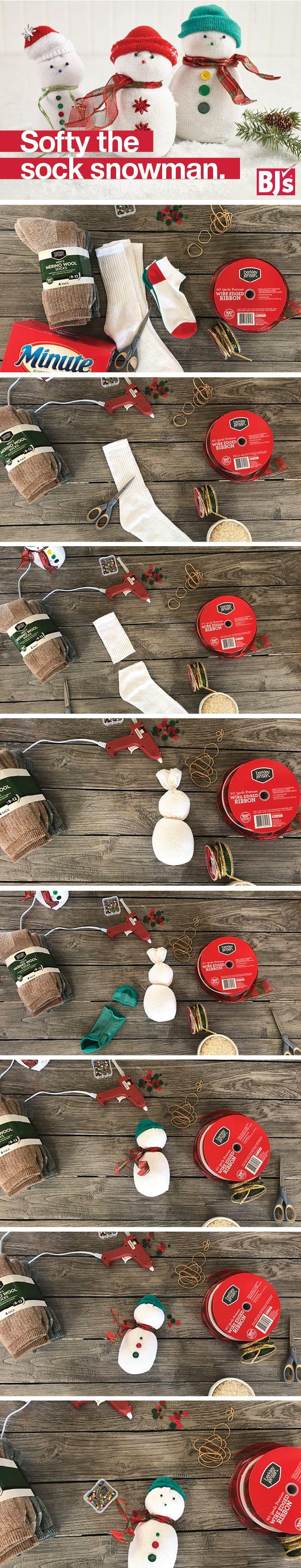 Adorable sock craft. Make a sock snowman for a DIY holiday mantel decoration. http://stocked.bjs.com/inspiration/softy-sock-snowman