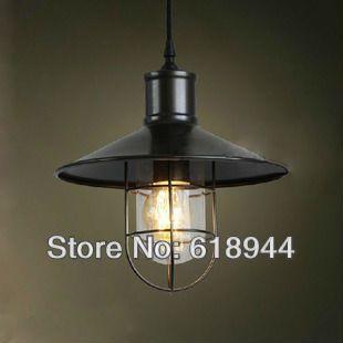 бесплатная доставка vintage медный сельский подвесные светильники железа чердак висит промышленное освещение