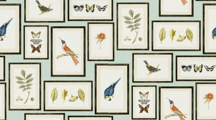 Picture Gallery (213400) - Sanderson Wallpapers - A unique wallpaper featuring framed souvenirs of various animals. Shown here in various colours on a duck egg blue background. Other colourways are available. Please request a sample for a true colour match. Wide width product. Paste the wall product.