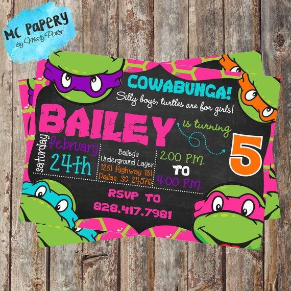 Boy/Girl Ninja Turtles Printable 5 x 7 Birthday by MCPapery