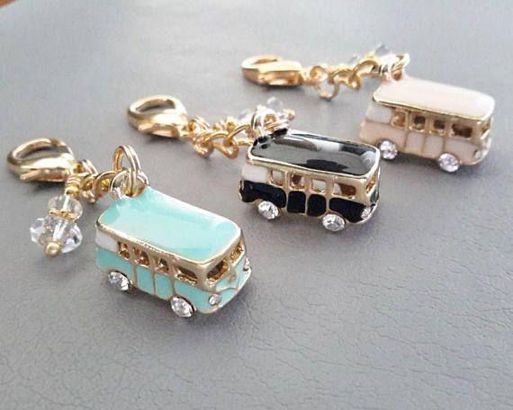 Mini Bus Planner Charm Enamel Pink Black Mint Bus Van Clip on