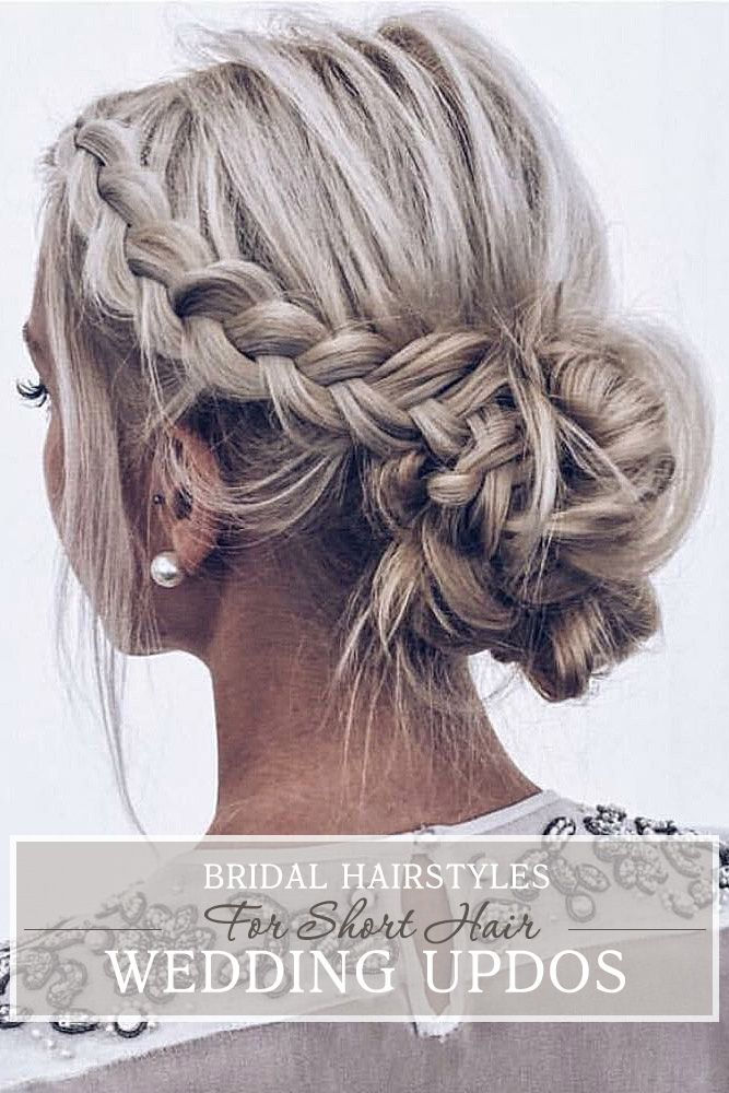 Inspiration For Wedding Updos For Short Hair Length Wedding Forward Short Hair Updo Braided Hairstyles Updo Wedding Hair And Makeup