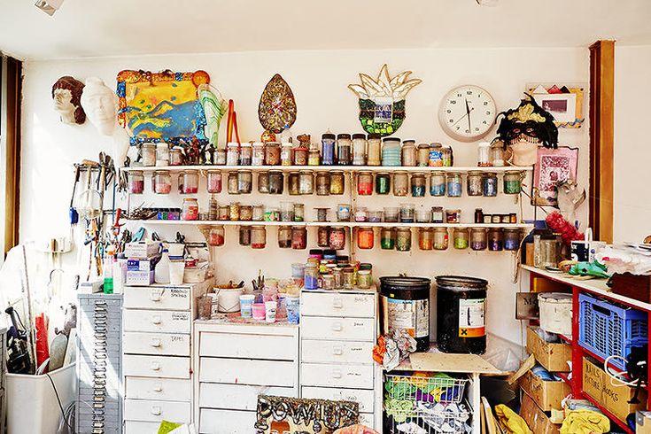 An inspiring shot of Andrew Logan's jewelry studio.
