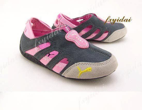 Sepatu Puma Sport Pink-Abu3 in stock  Sepatu puma sport, dapat di gunakan untuk boy dan girl, dari bahan suede sol karet lentur. No dus . untuk ketepatan ukuran silakan ukur anak anda dari telunjuk kaki sampai tumit. Rp. 190,000.00