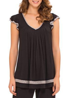 Ellen Tracy Women's Plus Size Flutter Sleeve Top - Black - 1X