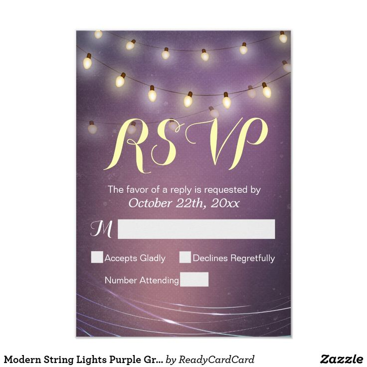 Modern String Lights Purple Grunge RSVP Reply Card Modern String Lights and Purple Grunge Background RSVP Reply Card. You are able to change the any background color you like, All text style, colors, sizes can also be modified to fit your needs!