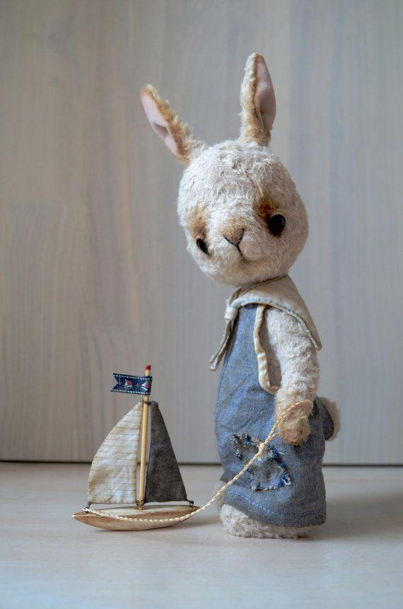 Teddy Bear stile Artist viscose OOAK Rabbit Tom by SanaTeddyBears
