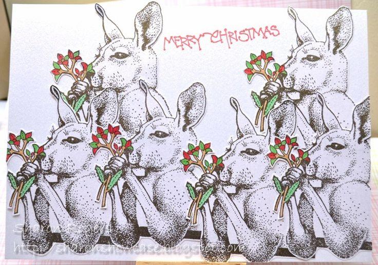Christmas Card, Handmade Card, Rubber Stamping, Australian Christmas, Australiana, http://sharonshowcase.blogspot.com, Kangaroos, Six White Boomers