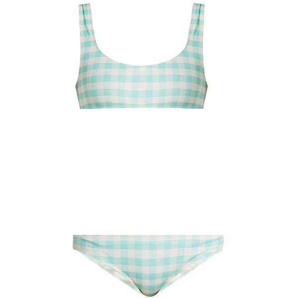 Solid & Striped The Elle gingham bikini top ($84) ❤ liked on Polyvore featuring swimwear, bikinis, bikini tops, light blue, patterned bikini, gingham bikinis, retro swim top, striped swimwear and striped bikini
