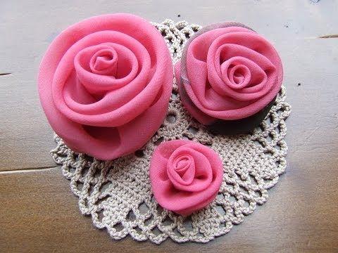 Роза из атласной ленты / DIY Fabric Flowers - YouTube
