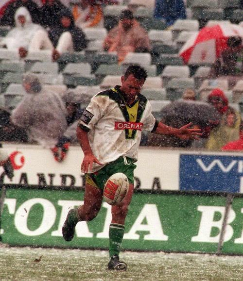 MORE GREAT CANBERRA RAIDERS MOMENTS: Raiders snow game, 2000 The only NRL game to have ever been played in snow, the Raiders ran out winners over the Wests Tigers in a thrilling match, 24-22. The trainers ran out with hot water in the water bottles, the players warmed up at half time under hand driers, and the crowd of 7384 were let into the grandstand for free and given a pie and coffee.