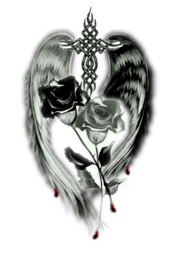 Tribal Rose Tattoos | This is really AWESOME...Love the cross and roses that crossing to ...