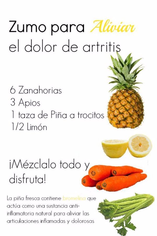 Zumo natural para aliviar el dolor de artritis. #artritis #remedioscaseros
