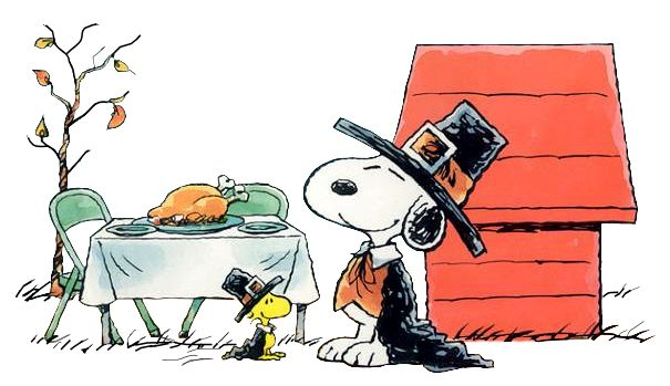 Peanuts Thanksgiving cartoon with Snoopy & Woodstock dressed as pilgrims.