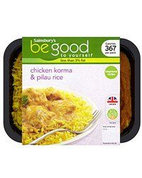 Fancy a low fat sofa meal? This chicken korma is under 370 cals! Sainsbury's, curry, korma, rice Be Good to Yourself Chicken Korma & Pilau Rice that's 367 calories