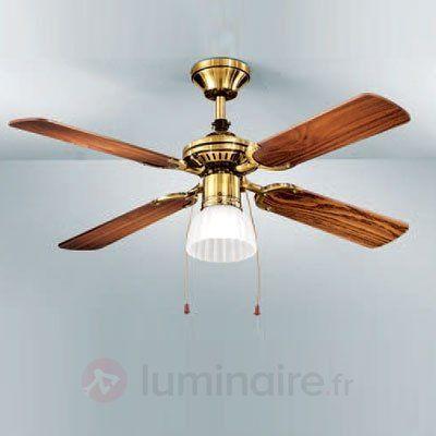 Ventilateur Silfo avec lampe, laiton ancien, référence 7540072 - Ventilateurs de plafond ou à poser chez Luminaire.fr !