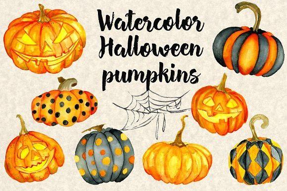Halloween watercolor pumpkins. Wedding Card Templates