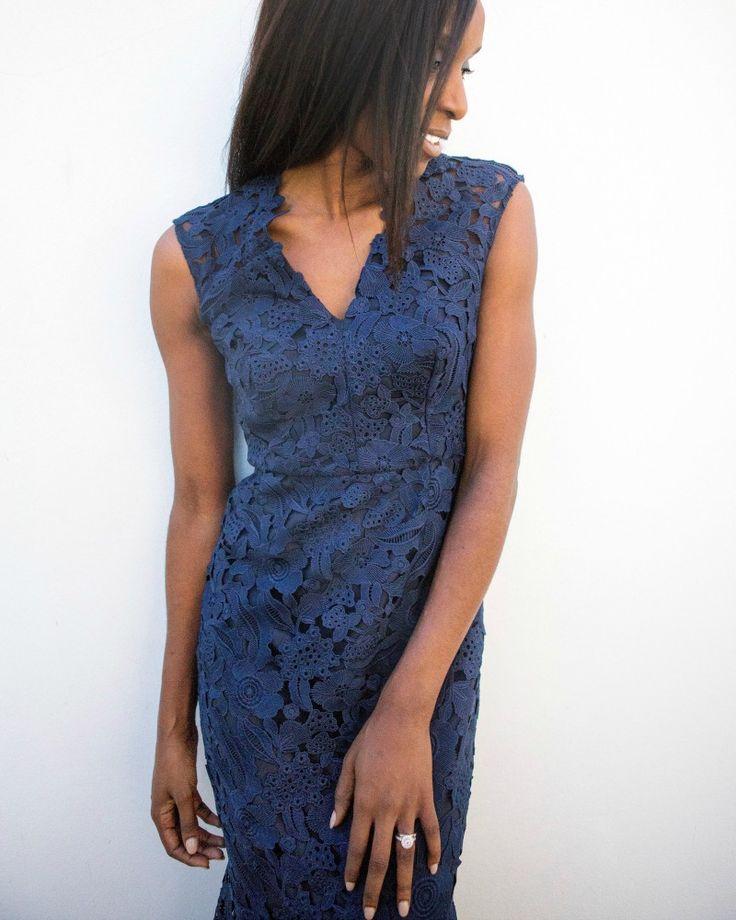 @stylistamama wearing the Navy Guipure Lace Dress #acstyle
