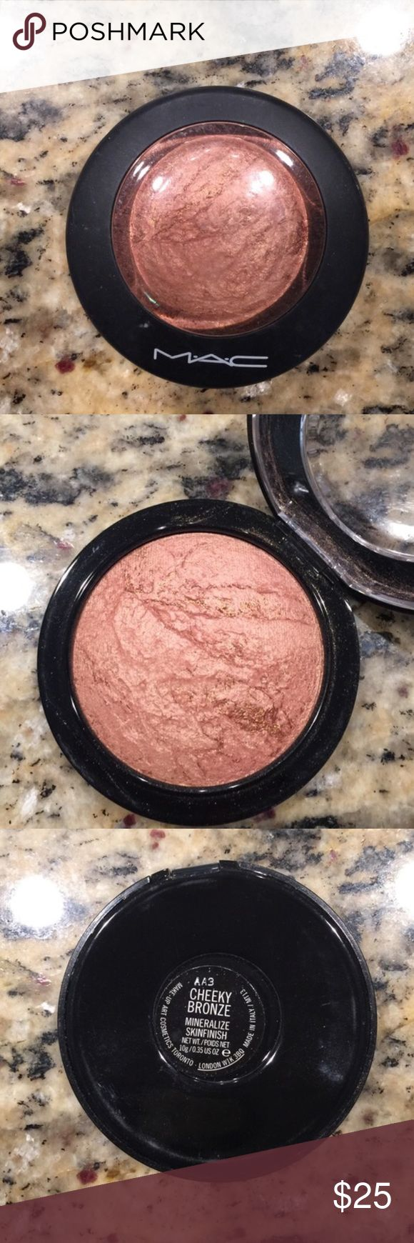 Mac Cheeky Bronze Swatched 3xpeachy golden highlighter MAC Cosmetics Makeup Face Powder