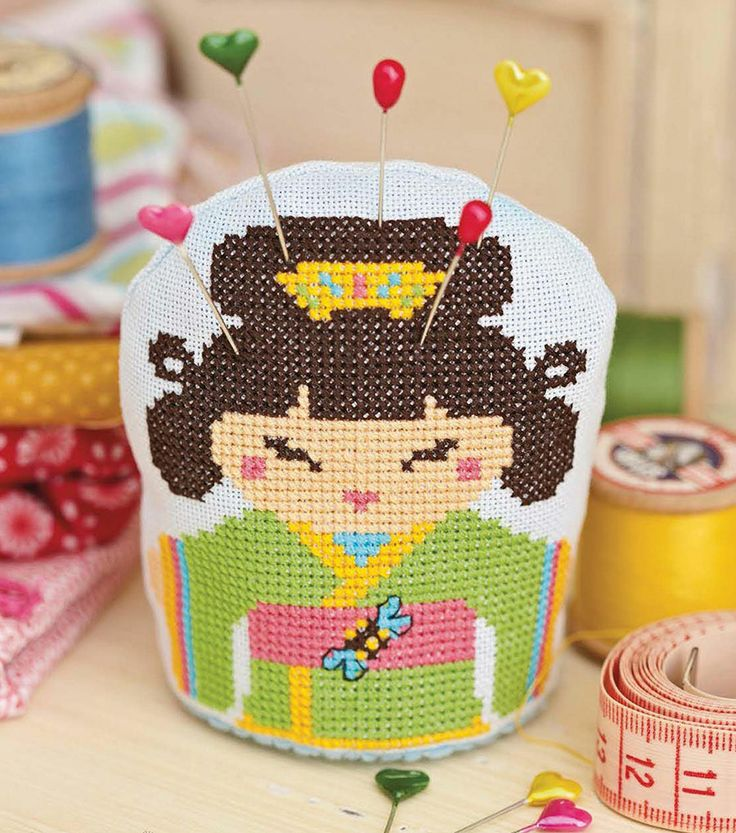 This cute oriental-inspired pincushion makes a great quick-stitch gift for fellow crafters - Chart avaible in CrossStitcher Magazine 276.- #CrossStitch