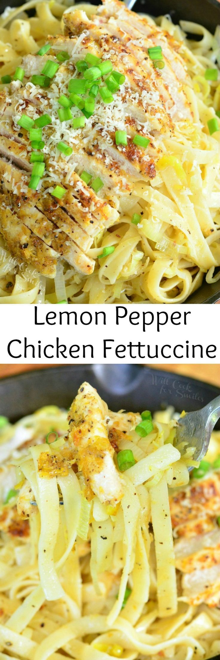 Lemon Pepper Chicken Fettuccine. Easy pasta dish that's so full of flavors, you can't stop eating it.