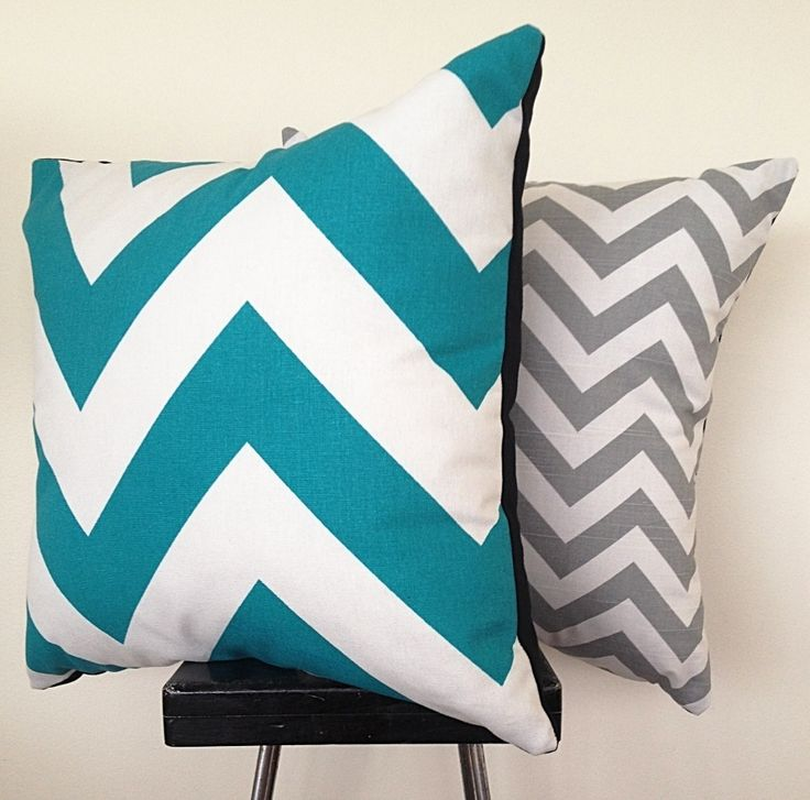 Grey and white chevron print cushion cover.  It is a cotton decorating weight canvas.