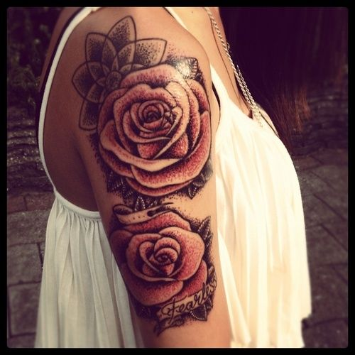 vintage rose shoulder/arm tattoo | tattoos | Pinterest ...
