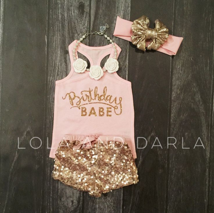 Birthday Babe infant tank top in gold sparkle