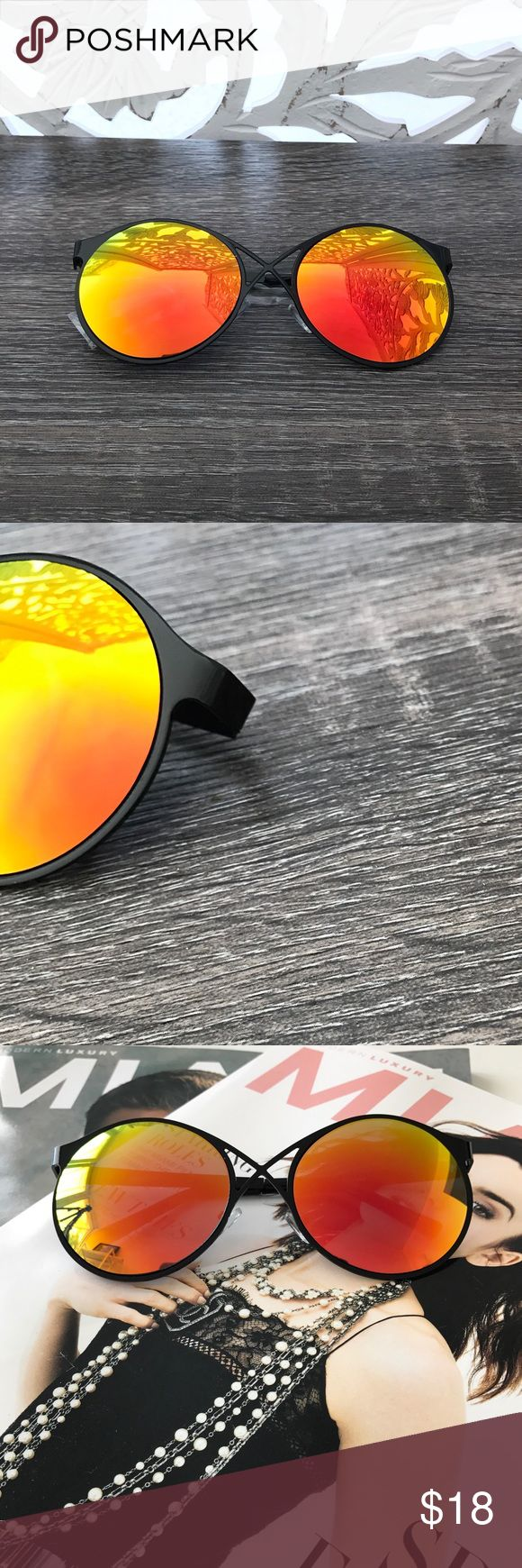 ▫️SALE▫️ORANGE MIRROR LENS ROUND SUNGLASSES * Round Lens * Front cross detail  * Orange Mirror Lens * Black metal frame  * Approximate measurements: Full length 6in; Individual lens 2.5in H x 2.5in W * PRICE FIRM Style Link Miami Accessories Sunglasses