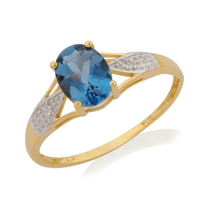 LONDON BLUE TOPAZ DIAMOND GOLD PLATED U.K. SIZE T RING IN 925 STERLING SILVER
