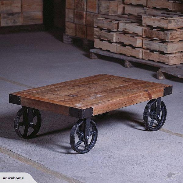 Rustic Industrial Coffee Table On Wheel   Trade Me