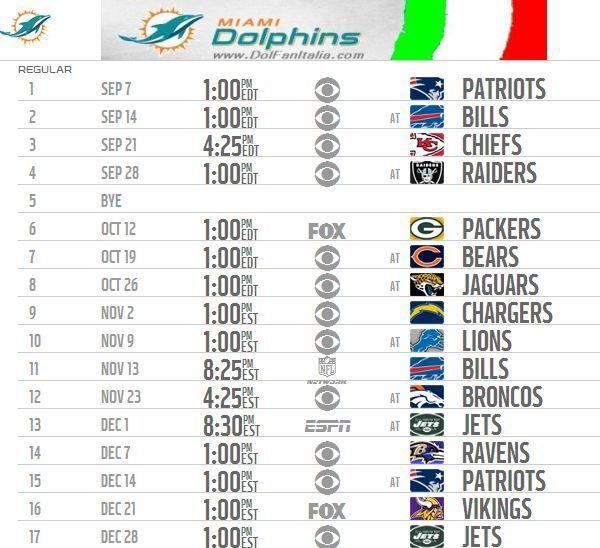 DolFanItalia - Ecco il calendario NFL 2014 dei Miami Dolphins