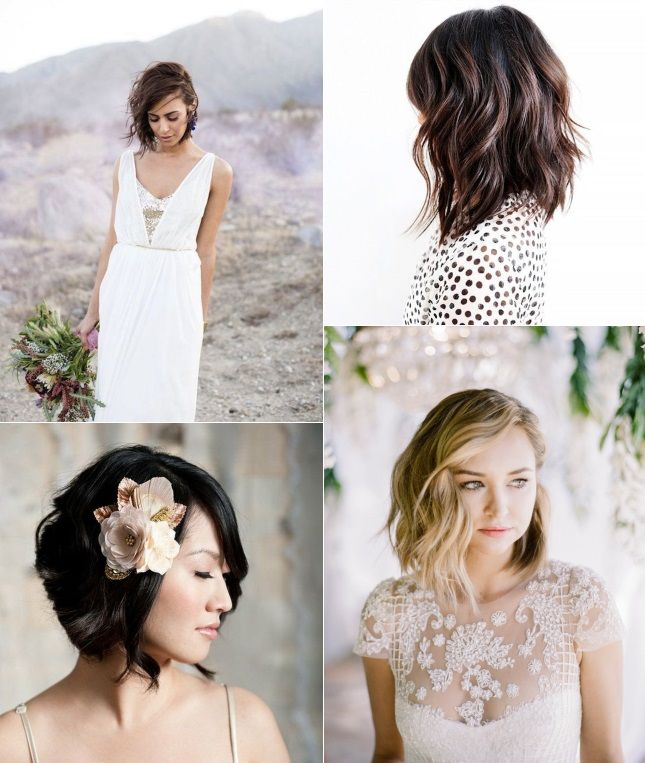 Long bob (lob) with waves - 9 of The Best Short Wedding Hairstyles for brides with short hair